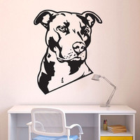 Dog Animal Pit Bull Wall Decal Art Home Decor Pitbull Wall Stickers Vinyl Wall Art Mural
