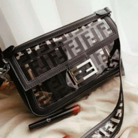 FENDI High Quality Fashionable Women Shopping Chic Transparent Shoulder Bag Jelly Bag Crystal Bag