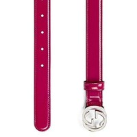 Gucci Women's Red Polished Leather Interlocking GG Buckle Belt