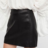 Free People Modern Femme Vegan Leather Mini Skirt - Black