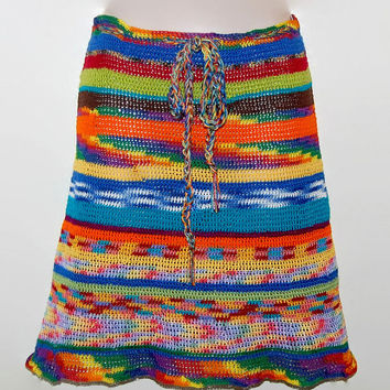 Mini/Knee Length Crochet Skirt, Hippie Crochet Skirt, Burning Man, Coachella Festival, Gypsy Gathering, Rainbow Family Size S