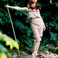 Nettle Striped Crop Camisole Top and Pantaloons Loungerie Set Made to Order