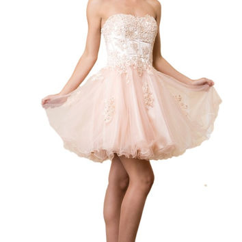 The Hannah Lace Corset Style Prom Formal Dress Gown in Pink