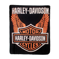 Harley-Davidson Wings Fleece Blanket Throw