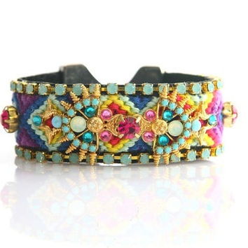 OOAK SS13 Luxury Swarovski Friendship Bracelet eygpt aztec indian Jewelry Cuff,bohemian gypsy,Ethnic