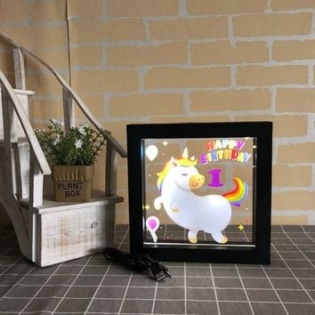 DELICORE Frame with LED Light Magic Unicorn Acrylic light up picture frame Wall Decoration Lamp Children Gifts 1-8 year-old Kids