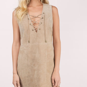 Lace It Genuine Suede Dress