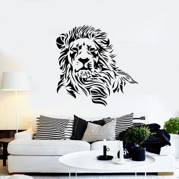 Wall Decal Lion Mane Wild Cat Beast Predator Animal King Vinyl Decal Unique Gift (ed380)