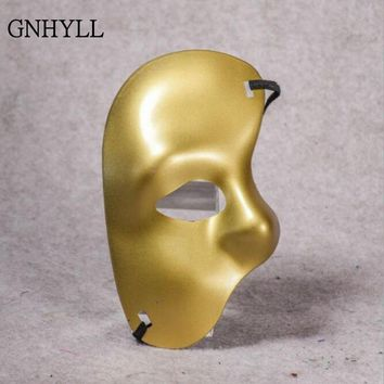 GNHYLL Gold Silver Phantom of the Opera Venetian Masquerade Party Eye Theatrical Half Face Mask For Halloween Cosplay Costume