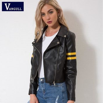 Vangull Leather jacket 2018 Spring New Women zipper moto Cool street wear Autumn winter coat Female Black Faux leather jackets