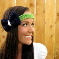 Seattle Seahawks Blue Green White Crochet Bow Headband w/ Vegan Coconut Buttons Adjustable Hair Band Girl Woman Head Wrap Hawks Accessories