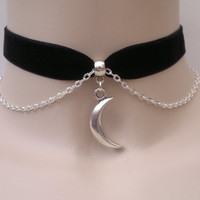 Solid Tibetan Silver Crescent MOON Charm With CHAIN 16mm Deep GREEN Velvet Ribbon Choker - kk.. or choose another colour velvet :)