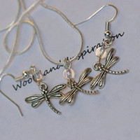 Dragonfly necklace and earring set, 3 piece set, silver dragonfly jewelry