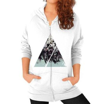 CREYUG7 Geometric Conversation Zip Hoodie (on woman)