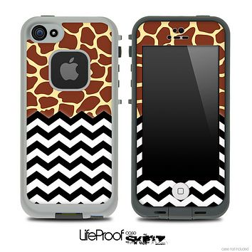 Mixed Giraffe Print and Chevron Pattern Skin for the iPhone 5 or 4/4s LifeProof Case