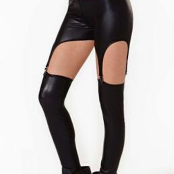 Hollow Out Imitation Leather Leggings