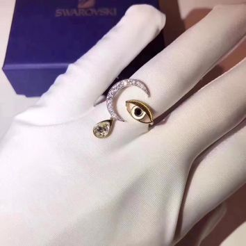 Eye of the devil Swarovski pt950 logo High 2018 New ring Serpenti ring AAAA diamond drill hollowed out 18 K gold Lovers ring