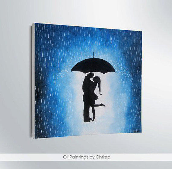 Couple Under The Umbrella From Oilpaintingschrista On Etsy