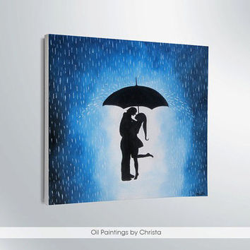 Couple under the umbrella painting-12x12in-rain-wall decor-artwork-home decor-gift ideas-art-couple shadows-love-canvas-handmade-couple.