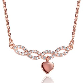 Small Cute Infinity Style Bar Dangling Heart Lucky Charm Love Amulet Gold-Tone Crystals Necklace