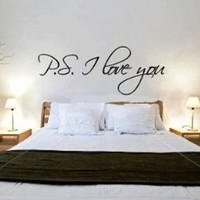 "~Romantic Gift ~ ""P.S. I Love You"" Vinyl Wall Art Decal Decor Sticker -TIED w/BOW!: Home & Kitchen"
