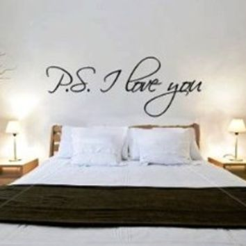 """~Romantic Gift ~ """"P.S. I Love You"""" Vinyl Wall Art Decal Decor Sticker -TIED w/BOW!: Home & Kitchen"""