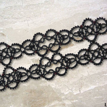 Tatted bracelet - Gothic bracelet - Wide lace bracelet - Garnet bracelet - Lace bracelet - Gothic style - Tatted jewelry
