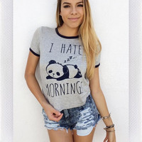 I HATE MORNINGS TEE- GREY