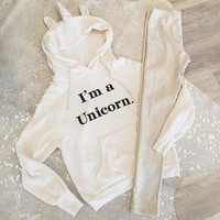 New autumn and winter women 's letters printed hooded white sweater sets of long - sleeved