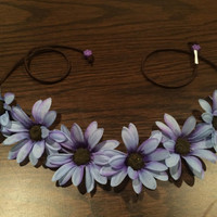 Purple Blue Ombre Daisy Flower Headband, Flower Crown, Flower Halo, Festival Wear, Ezoo, Coachella, Rave, EDC, Hippie Headband