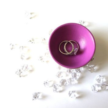 Radiant orchid wood dish, jewelry dish, ring cup, mini jewelry holder