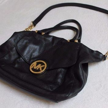 ICIKW7H Michael Kors Black Leather Hobo Shoulder Bag MK Logo