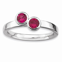 Sterling Silver Stackable Expressions Db Round Simulated Ruby Ring: RingSize: 8