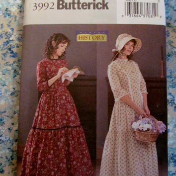 Uncut Butterick Sewing Pattern, 3992! Sizes 12-14-16, Historical Dresses/Reenactment/Western/Prairie/Medieval/Bonnets/Cosplay