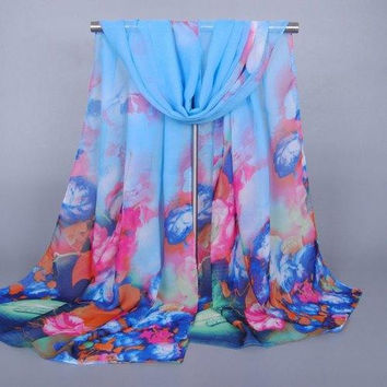 Chic Flowers and Vase Pattern Sunscreen Chiffon Scarf For Women
