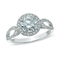 7.0mm Lab-Created White Sapphire Ring in Sterling Silver