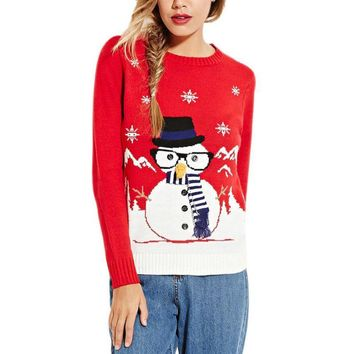Christmas Sweater Santa Claus Pattern Knitted Sweater Women Pullover Female Casual Clothing New