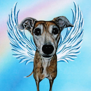 Greyhound Angel - Greyhound Art - Brindle Greyhound Dog - Guardian Angels - Pet Memorial - Rainbow Bridge - Dog Angel - Weeze Mace - 8x10