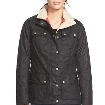 Women's Barbour 'Bartlett' Faux Shearling Trim Waxed Cotton Jacket,