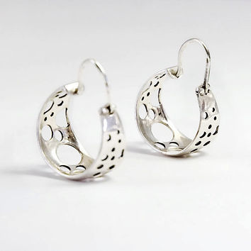 Sterling Silver Hoops Earrings - Handmade Sterling Silver Jewelry - Bubbles