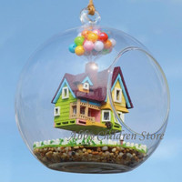 Glass House Model Flying Up Paradise Falls Woodren Miniature Furniture Toy Miniature House Cabin with Lamp DIY Toy For Children