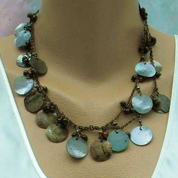 Long Abalone Disk Necklace Earring Set Artisan Hand Crafted Jewelry