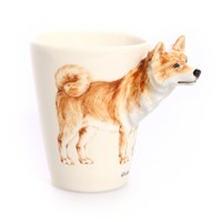Blue Witch Ceramics | The O List | Pup on a Cup| Hand Crafted Ceramic Arts Blue Witch 3D Dog Mug - Shiba Inu 3D dog mugs, Salt & Pepper Shakers, Picture holders