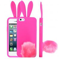 Bunny Ears Case with Tail Stand for iPhone 5 5S Hot Pink