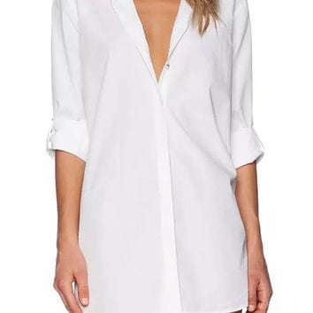 White Long Sleeve V-neck Blouse