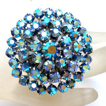 Blue Rhinestone Brooch, Signed Weiss, Sash Ornament, Hair Jewelry, Vintage Pin, Rockabilly, Fashion Jewelry, Bling