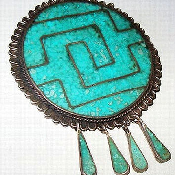 Taxco Turquoise Brooch Pendant Medallion Signed 925 Mexico Eagle # A Vintage