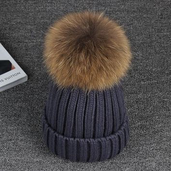 15cm Real Raccoon Fur Pom Poms Ball  Knitted Winter Hat For Women Girl 's Cotton Skullies Beanies  Brand New Thick Female Cap
