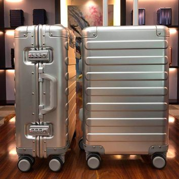 "Aluminum Alloy Business Travel Hard Shell Spinner Pull Rod Box TSA Lock Cabin Trolley Suitcase 20""24inch Carry on Luggage"