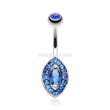 Dazzling Marquise Sparkle Belly Button Ring (Tanzanite)